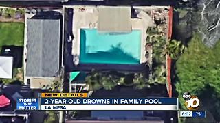 La Mesa 2-year-old dorwns in family pool - Video