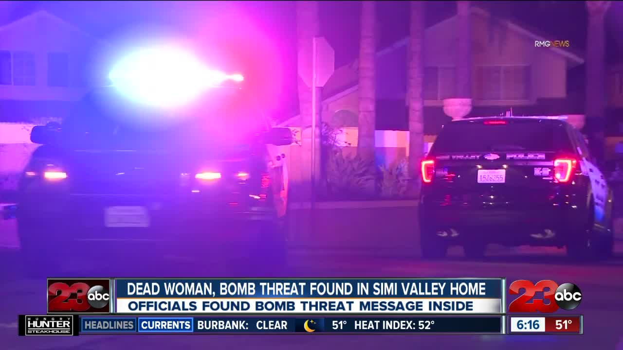 Dead Woman, Bomb Threat Found in Simi Valley Home