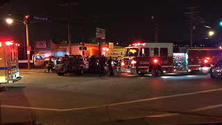 2 people trapped inside a vehicle following crash with tow truck at Harvard Avenue, Jennings Road - Video