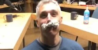 Man passes whipped cream challenge with flying colors!