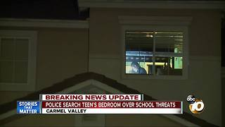Police search teen's bedroom over school threats - Video