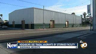 Neighbors see trash, vagrants by storage facility