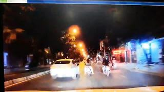 Driver accused of ramming motorbike in road rage incident - Video