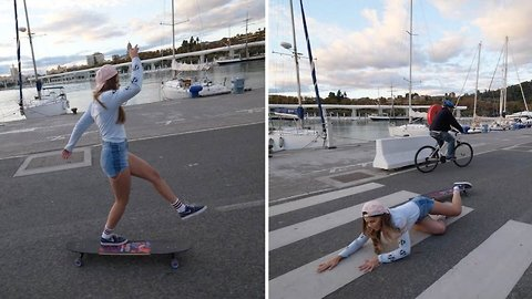 Pro longboarder falls over on crossing after showcasing dance moves
