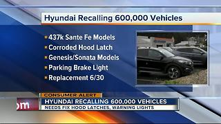 Hyundai recalls almost 600,000 vehicles to fix hood latches, warning lights - Video