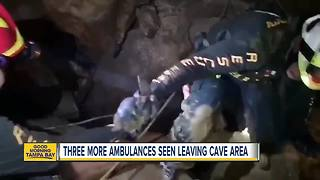 Three more ambulances seen leaving cave area in Thailand - Video