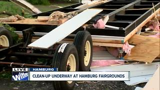 Debris collects at Hamburg Fairgrounds - Video