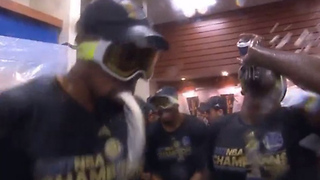 Kevin Durant Can't Hold His Liquor During Warriors Locker Room Celebration - Video