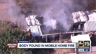 Body found in north Phoenix mobile home fire - Video