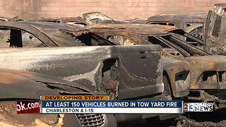 At least 100 vehicles destroyed in tow yard fire - Video
