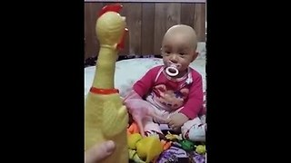 Baby gets trolled by rubber chicken || Viral Video UK - Video