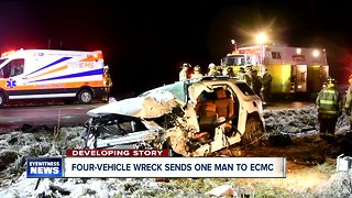 Man hospitalized after four-vehicle crash in Niagara County