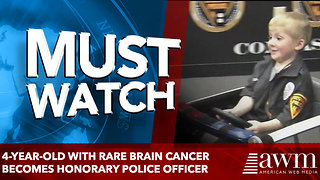 4-year-old with rare brain cancer becomes honorary police officer - Video