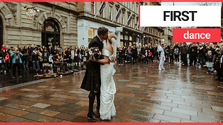 Newlywed couple enjoy first dance in Scotland's busiest shopping street