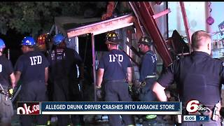 Alleged drunk driver crashes into Karaoke store - Video