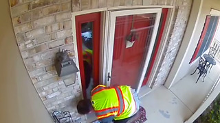 Clumsy UPS Worker Trips And Stumbles Down The Stairs  - Video