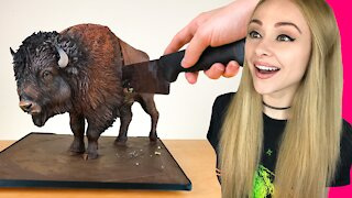 Making a Realistic Buffalo CAKE that will blow your mind