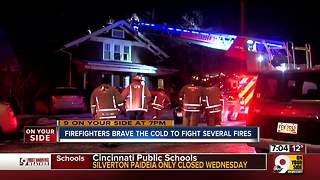 Firefighters brave the cold - Video
