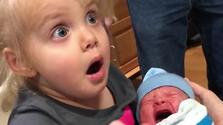 Baby Boy's Crying Scares His Toddler Sister
