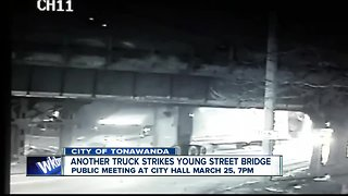 Yes, it happened again! Another truck strikes Young Street Bridge