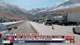 I-5 S at the base of the Grapevine will reopen late Tuesday morning