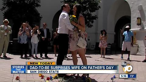 Dad-to-be surprises wife on Father's Day