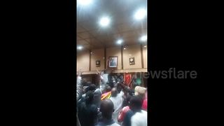 Protesters tear down Mugabe portrait - Video