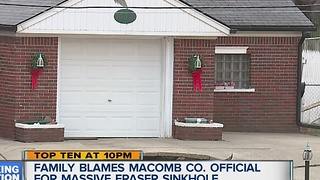 Family blames Macomb County official for Fraser sinkhole - Video