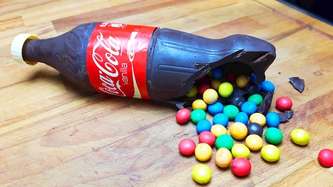 DIY chocolate Coca Cola bottle filled with M&M's