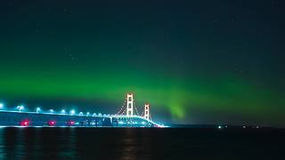 Northern Lights Shine Above Michigan's Mackinac Bridge - Video
