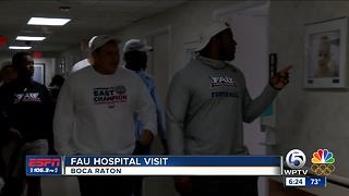 FAU football team visits Boca Raton Regional Hospital