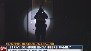 Stray gunfire endangers family - Video