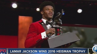 Former Boynton Beach star, Louisville QB Lamar Jackson wins Heisman Trophy - Video