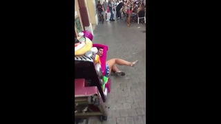 Epic fail! Girl wipes out on child ride - Video