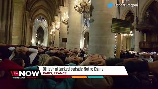 Officer attacked with hammer by Notre Dame Cathedral in Paris - Video