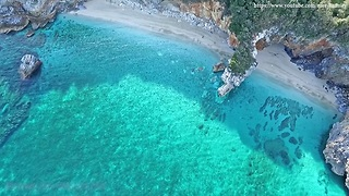 Drone footage captures world famous Mylopotamos Beach in Greece
