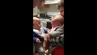 Baby Boy Is Upset After Face-To-Face Encounter With Twin Sister   - Video