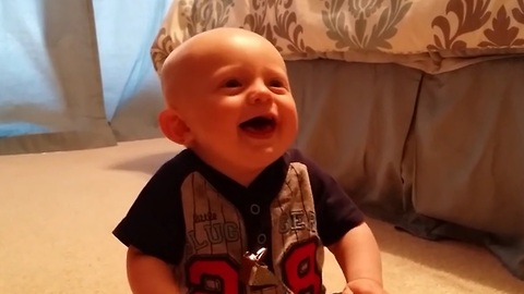 "Baby's adorable reaction to ""boo"""