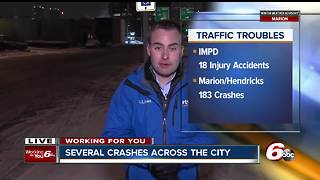 Weather causes dozens of accidents across central Indiana - Video