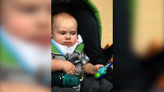Grumpy Baby Not Amused By Toy - Video