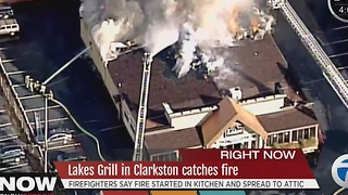 Lakes Grille catches fire in Clarkston - Video