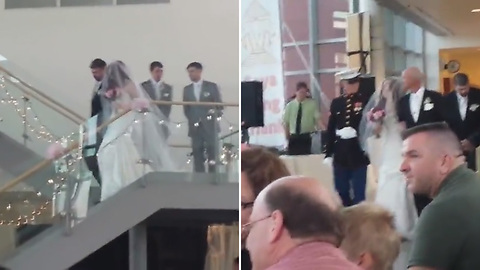Marine Brother Surprises His Sister On Her Wedding Day