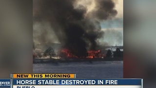 Horse stable destroyed by fire - Video