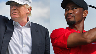 Donald Trump, Tiger Woods playing golf in Palm Beach County