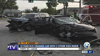 12-year-old crashes car in Port St. Lucie - Video