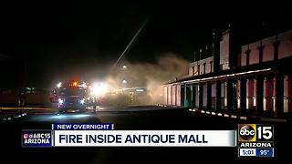 Firefighters contain 2nd alarm fire at Brass Armadillo Antique Mall in north Phoenix - Video