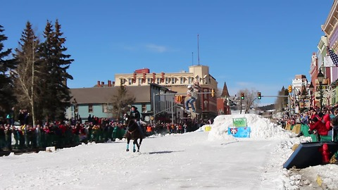 What is the crazy sport of skijoring?