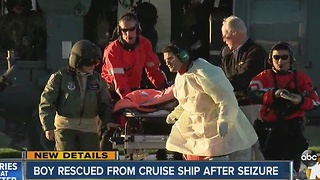 Boy rescued from cruise ship after seizure - Video