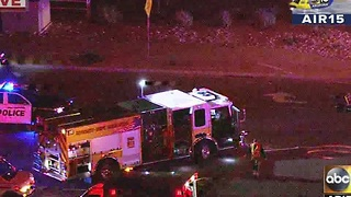 Air15 over scene of serious car crash in Goodyear - Video