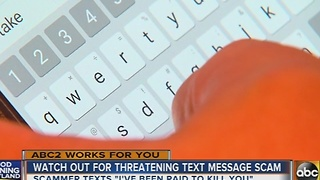 Police warn of threatening text message scam in Maryland - Video